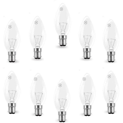 AcornSolution 30 Pack 40W Classic Clear SBC B15 B15d Candle Light Bulbs, Small Bayonet Cap, Dimmable Incandescent Lamps