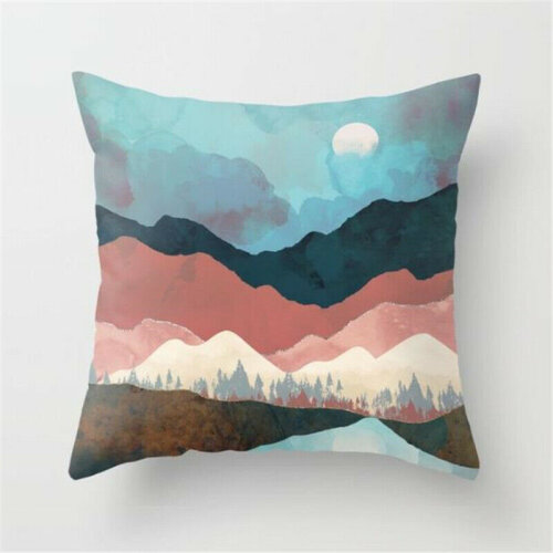 (#4 Landscape) Japanese Ukiyoe Throw Pillow Case Square Bed Sofa Waist Cushion Cover Home Decor