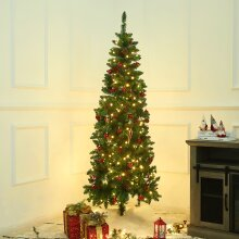 Artifical 6ft Green Christmas Tree With Red Berries & Pine Cone Xmas Decor Home