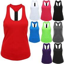 TriDri Womens Perofrmance Gym Running Sports Fitness Strap Back Vest Top Tee