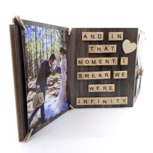 Large Wedding Picture or Collage Frame Scrabble Art That Moment We Were Infinity Quote Wooden Foldable Photo Holder