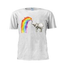 Baby Elephant T Shirt Spraying Rainbow Tshirt Trendy Unisex Men T Shirt