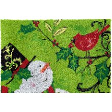 Snowman with Bird Rug Making Latch Hooking Kit (82x61cm blank canvas)
