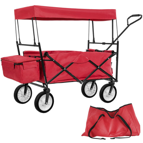Garden trolley with roof foldable incl. carry bag red