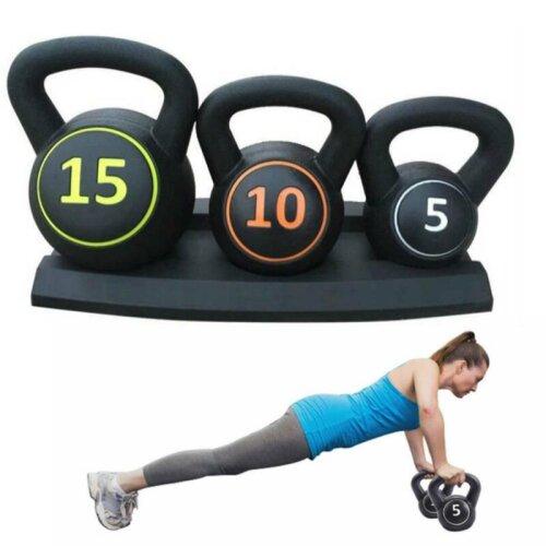 3pcsKettlebell Set Kettlebells Weight Weights Sets Exercise Gym + Rack