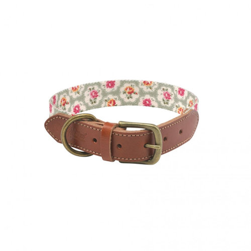 Cath Kidston Provence Rose Soft-touch Leather Collar W/printed Inner Medium