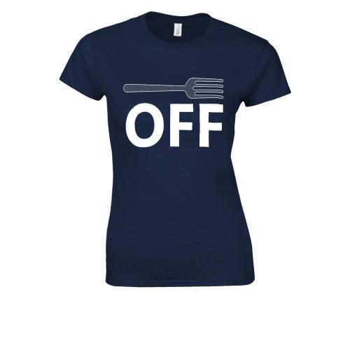 (Large, Blue) Fork Off Mens Novelty Funny Rode Novelty Forest White Women T Shirt Top