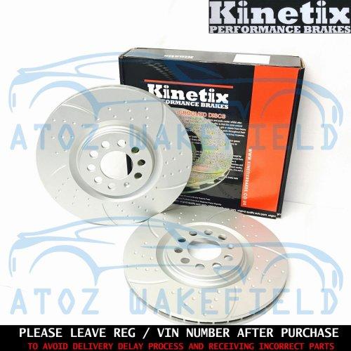 For Skoda Octavia 2.0 TDi RS Front Kinetix Dimpled Grooved Brake Discs 312mm