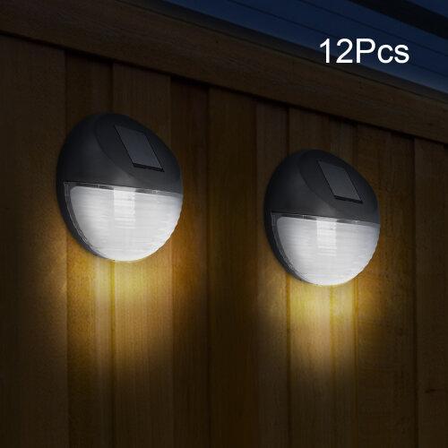 12 Pcs LED Solar Power Garden Fence Wall Lights Outdoor Decking Lamp