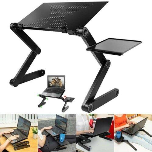 Adjustable Foldable Laptop Cooling Stand Tray Holder Riser Desk Table for Sofa Bed