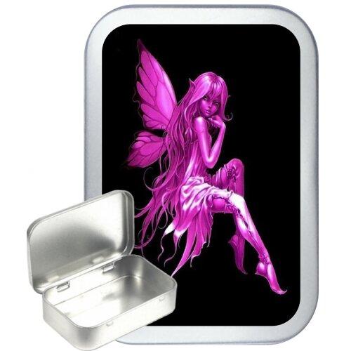 Pink Fairy 50ml Silver Hinged Tobacco Tin, Gift Tin