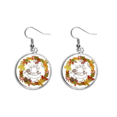 Garland Thanksgiving Day Leaf Pattern Ear Dangle Silver Drop Earring Jewelry Woman