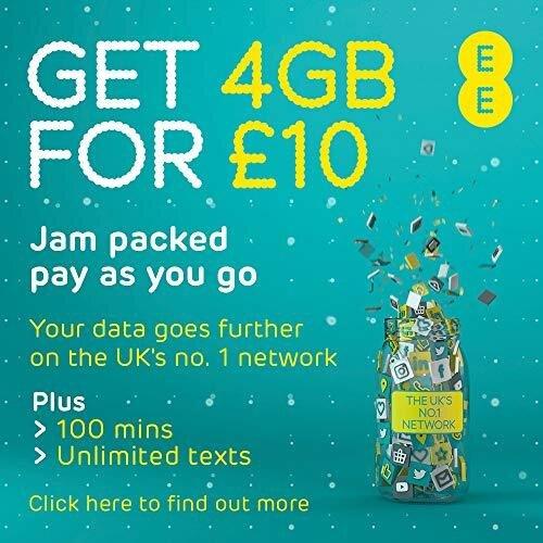 EE £10/30 days for 100 Mins, Ultd Texts & 2GB data. Pay as you go PAYG Multi Sim Trio simcard. Standard/Micro/Nano Size.