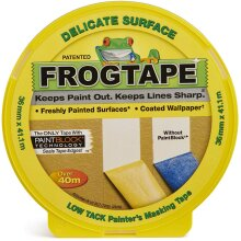 Frog Tape Yellow Delicate Surface Painters Masking Tape 36mm x 41.1m. Indoor painting and decorating for sharp lines and no paint bleed