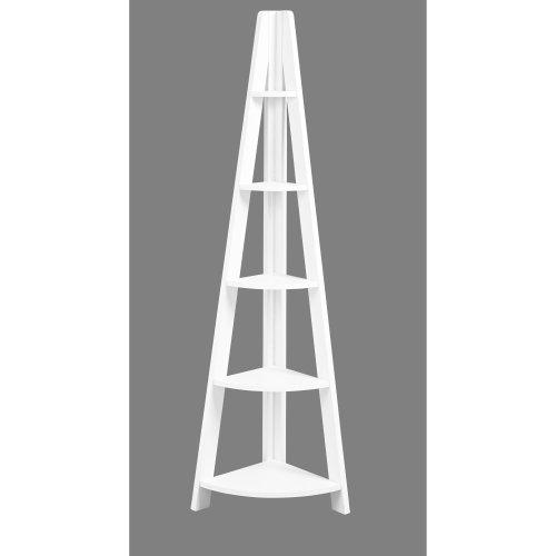 Corner Ladder Bookcase Leaning 5 Tier Display Shelving Unit Rack Shelf