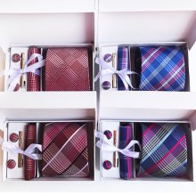 3.35inch(8 Cm) Wide Plaid Classic Mens Neckties Wedding Fashion Party Man Tie, Handkerchief, Pin and Cufflinks Gift Box Packing
