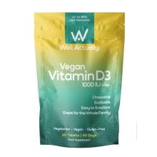 Vegan Vitamin D3 1000iu – 90 Chewable & Easy Swallow Tablets UK Made