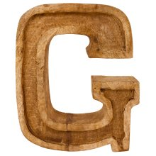 Hand Carved Wooden Embossed Letter G