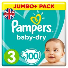 Pampers Baby-Dry Size 3, 100 Nappies