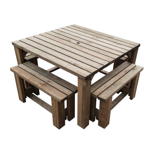 (Rustic Brown) Picnic Table and 4 Bench Set Wooden Outdoor Garden Furniture, Quadrum