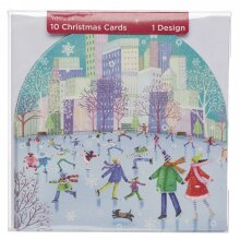 WHSmith Ice Skaters Snow Globe Christmas Cards Glittered Snow Details Pack Of 10