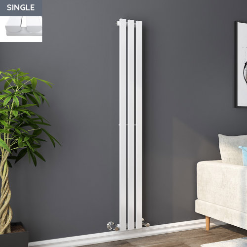 Lulea 1600 x 200mm White Single Rectangular Panel Vertical Radiator