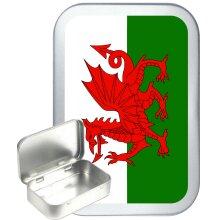 Welsh Flag 50ml Silver Hinged Tobacco Tin, Gift Tin