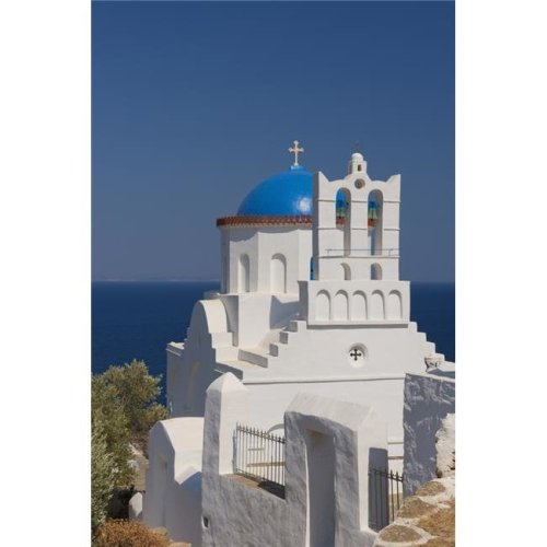 The Blue Domed Church of Panayia Poulati - Sifnos Cyclades Greek Islands Greece Poster Print - 12 x 19 in.