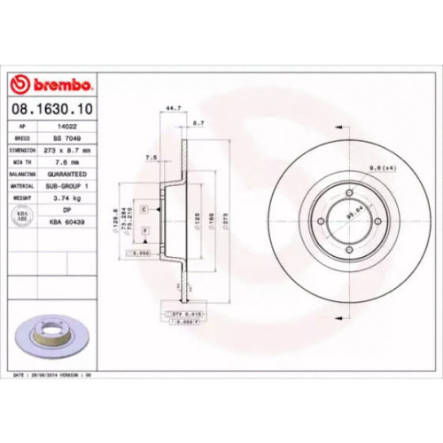 Front Pair (2x) of Brake Disc BREMBO 08.1630.10