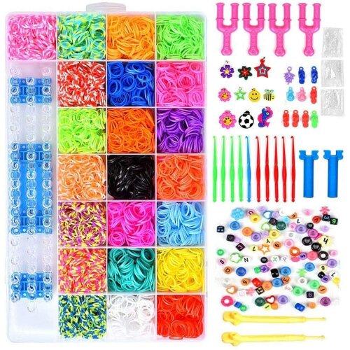 ONECK 6800 Loom Bands Kit, Rubber Rainbow Bracelet Making Set, Kids Art Crafts Jewelry Making Kit