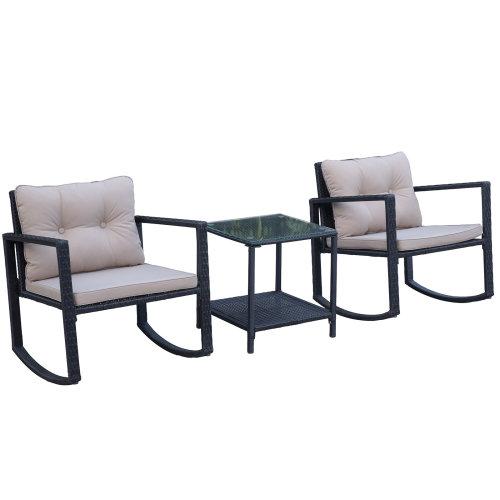 Outsunny 3Pcs Rattan Rocking Set Patio Bistro Table Chairs Conversation