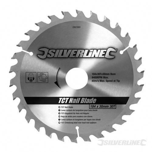 Silverline Tct Nail Blade 30t 184 x 30 - No Rings - Saw 282390 30mm Circular -  blade tct nail x 184 silverline 30t rings saw 282390 30mm circular