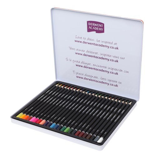 Derwent Academy Colouring Pencils, Set of 24, Tin Box, High Quality, 2301938