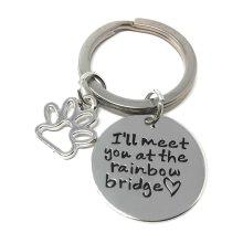 Silver-Tone 'I'll Meet You At The Rainbow Bridge' Engraved Pendant Keyring 2.2cm Diameter Dog