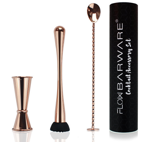 Copper Cocktail Accessory Set, Copper Japanese Double Ended Jigger, Copper Cocktail Mixing Spoon & Fruit Muddler. The Perfect Mixologists Bartender Gift Set