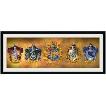 GB eye LTD, Harry Potter, Houses, Framed Print, 75x30cm, Wood, Multi-Colour, 75 x 44 x 3 cm