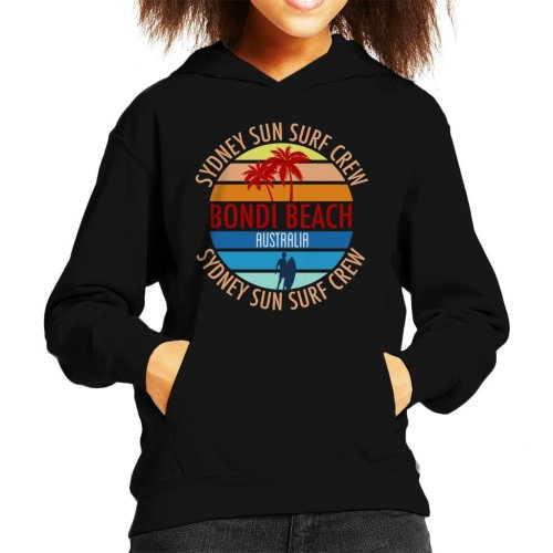 Bondi Beach Sydney Sun Surf Crew Retro Kid's Hooded Sweatshirt