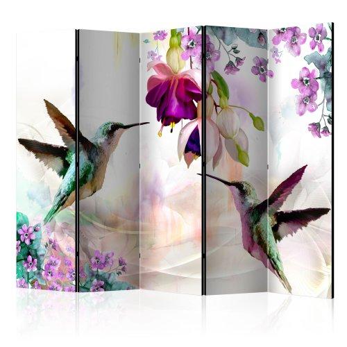 Room Divider - Hummingbirds and Flowers II [Room Dividers]