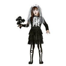 Girls Skeleton Bride Halloween Fancy Dress Costume 7-9 years