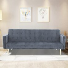 Velvet Sofa Bed Grey With Rose/Golden Legs Elegant Sofa bed