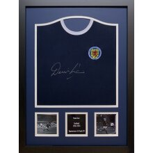 Framed Denis Law signed Scotland shirt with COA & proof