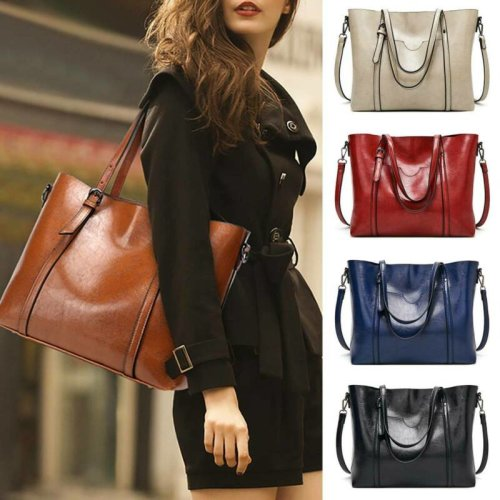Womens PU Leather Vintage Messenger Handbag Office Lady Shoulder Bag Totes Purse