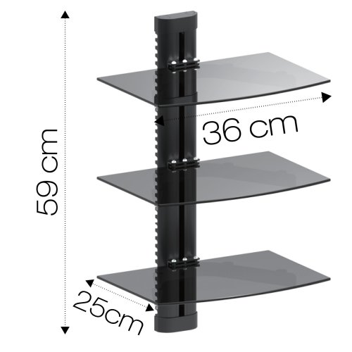 Black Triple Floating Glass Shelf Wall Mount Bracket Stand Dvd Sky Console