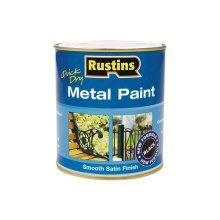 Rustins MPBK1000 Metal Paint Smooth Satin Black 1 Litre