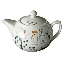 Dogs 6 cup ceramic teapot