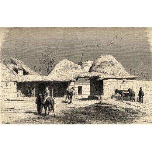 A Caravanserai In Tashkent, Uzbekistan In The 19th Century From El Mundo En La Mano Published 1878 Poster Print, 18 x 11