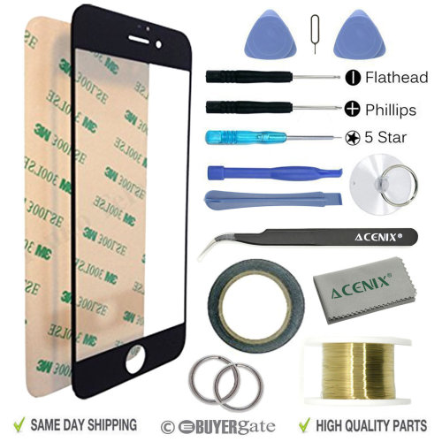 Apple iPhone 8 Plus Replacement Screen Front Glass Repair Kit BLACK With Tools
