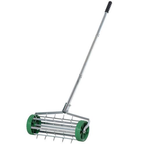 Outsunny Lawn Aerator Outdoor Grass Care Heavy Duty Garden Roller Manual Handle