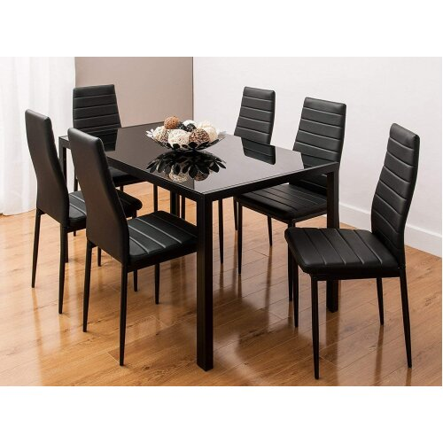 ALL BLACK GLASS DINING TABLE SET AND 6 FAUX LEATHER BLACK CHAIRS