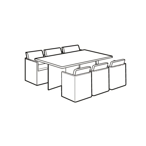 6 Seater Rectangular Cube Set Cover - Super Tough Polyethylene